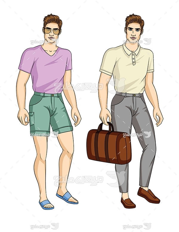 وکتور کاراکتر مد و لباس تابستانه