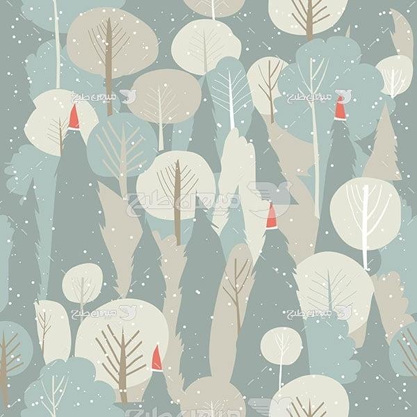وکتور کاراکتربک گراند درخت زمستانی