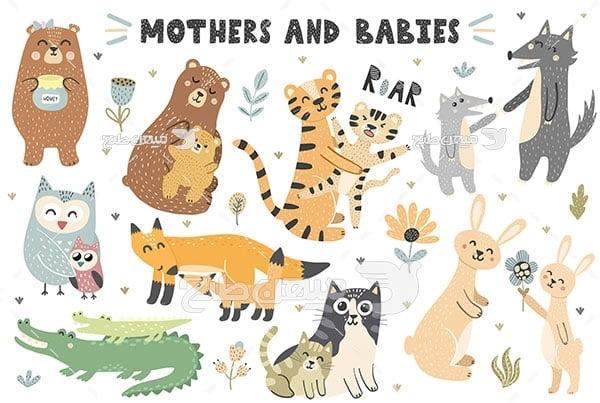 وکتور نقاشی مادر و بچه حیوانات