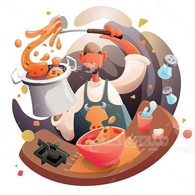 وکتور کاراکتر غذا آشپز ماهر