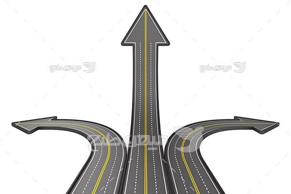 عکس جاده به شکل جهت های فلش