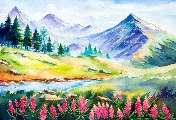 وکتور کاراکتر طبیعت و نقاشی رودخانه