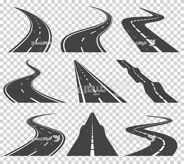 وکتور شکل مختلف جاده و خیابان
