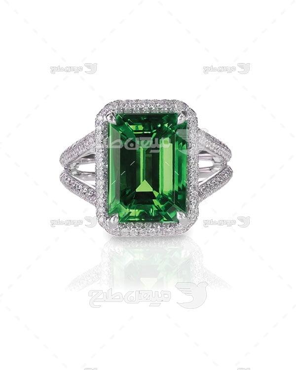 عکس انگشتر نقره الماس نگین یاقوت سبز
