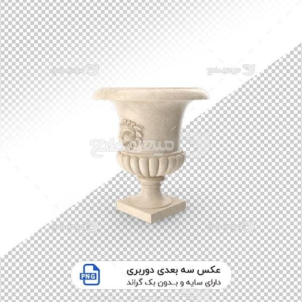 عکس برش خورده سه بعدی گلدان نمای ساختمان