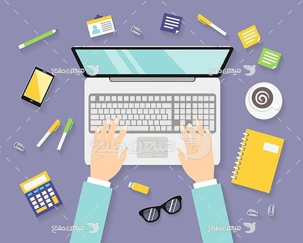 وکتور استفاده از لپ تاپ