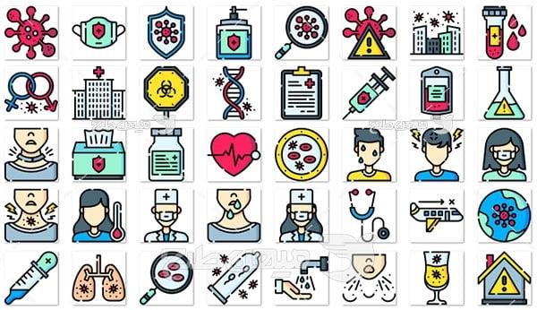 آیکن و لوگو پزشکی و درمانی و ویروس کرونا