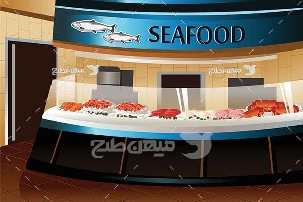 وکتور فروشگاه غذای دریایی