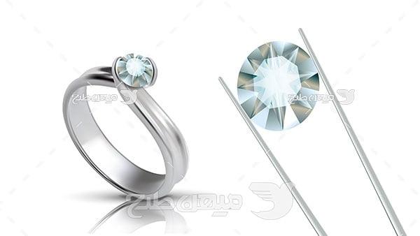وکتور حلقه نقره با نگین الماس