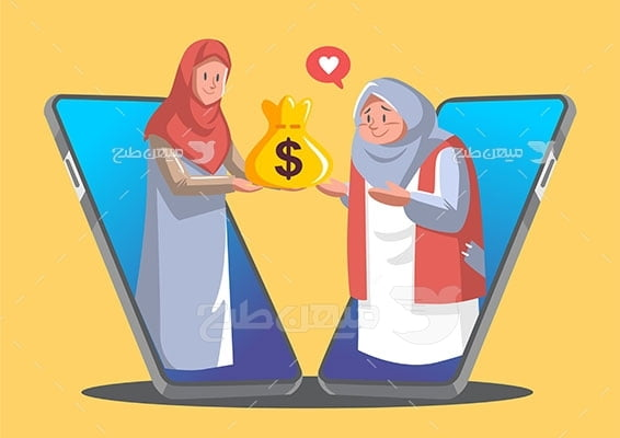 وکتور کاراکتر حجاب و شغل آنلاین