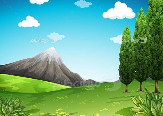 وکتور کاراکتر طبیعت دشت سبز