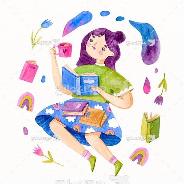 وکتور لذت کتاب خواندن