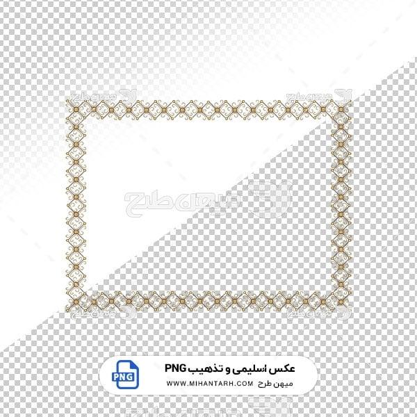 عکس برش خورده اسلیمی و تذهیب قاب با حاشیه طرح لوزی