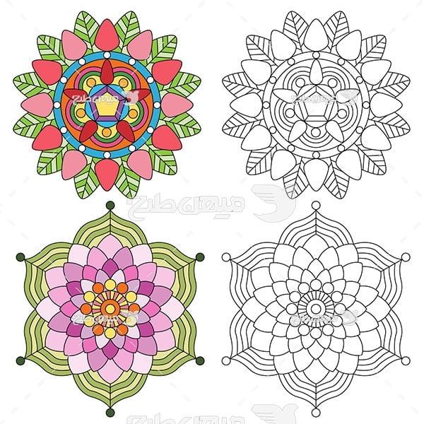 وکتور حاشیه اسلیمی و تذهیب گلدار رنگی