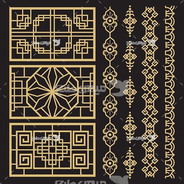 وکتور حاشیه اسلیمی و تذهیب پس زمینه مشکی طرح طلایی