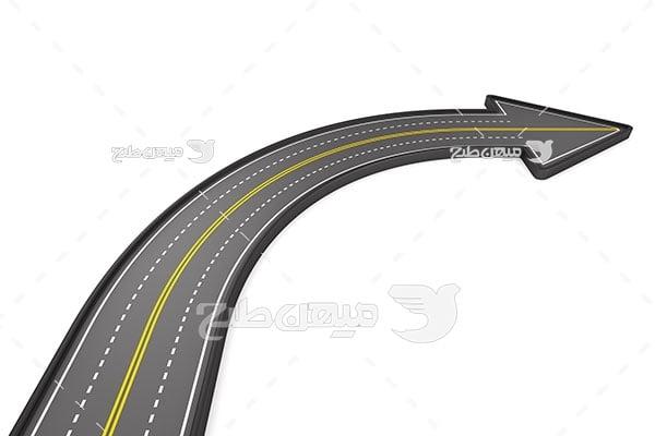 عکس جاده شکل فلش گردش به راست