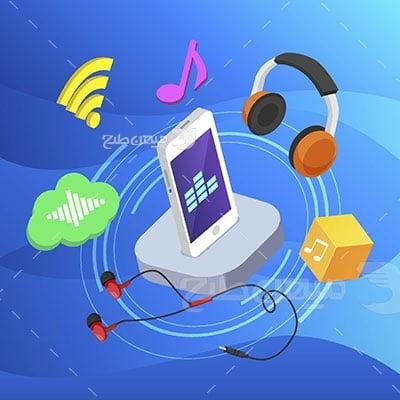 وکتور کاراکتر موسیقی موبایل