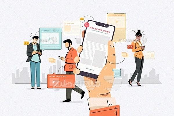 وکتور استفاده از موبایل برای مردم