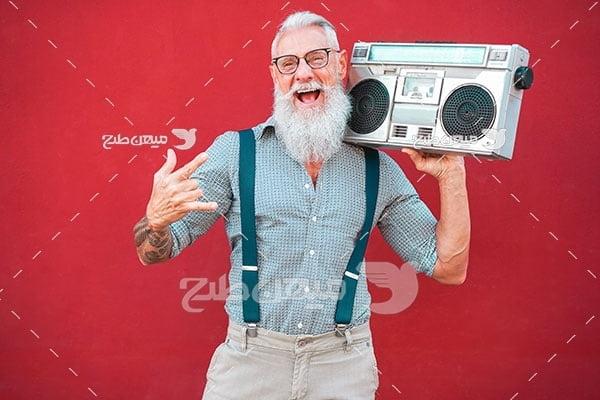 عکس پیر مرد شاد