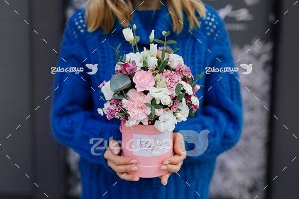 عکس گلدان گل های رنگارنگ
