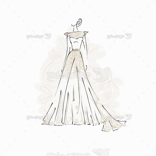 وکتور کاراکتر مد و لباس عروس