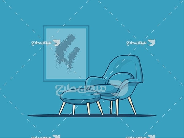 وکتور طرح کارتونی مبل و کاناپه یک نفره