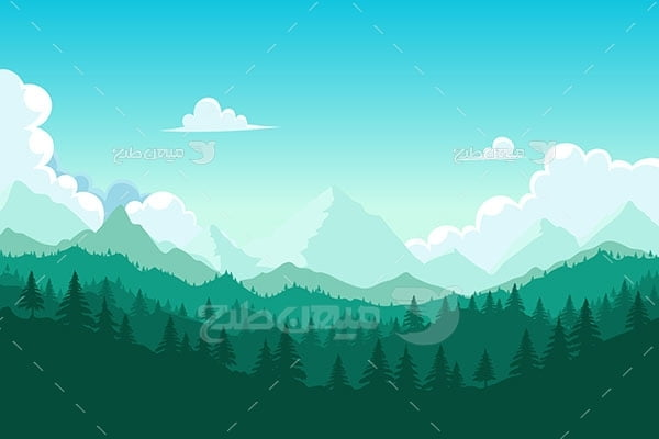 وکتور کاراکتر طبیعت جنگل سبز