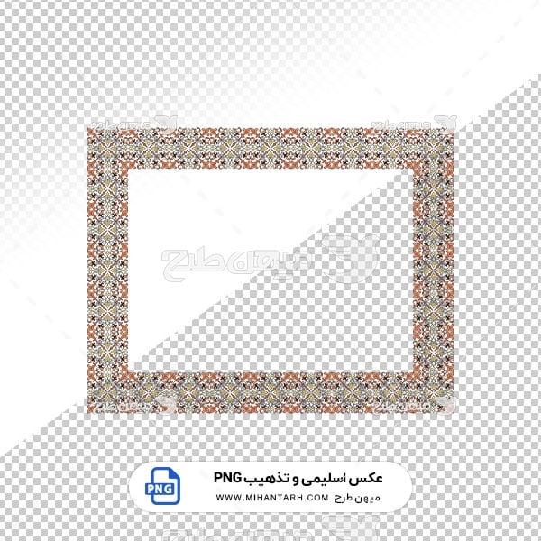 عکس برش خورده اسلیمی و تذهیب قاب با حاشیه طرح پارچه