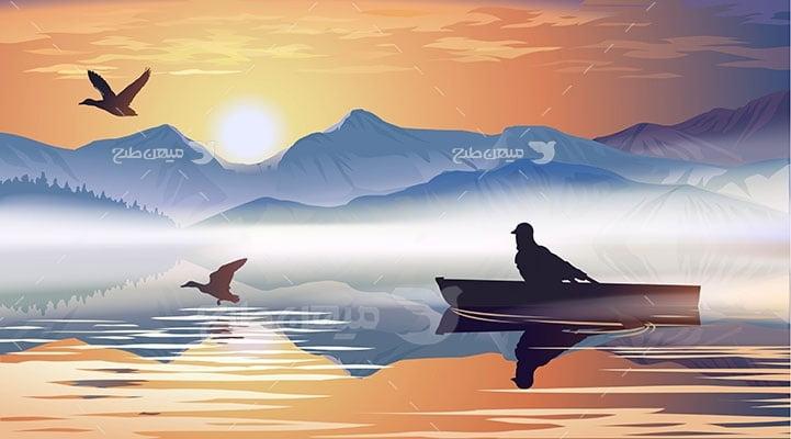 وکتور کاراکتر طبیعت و دریا