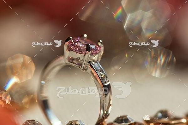 عکس حلقه طلا نگین الماس