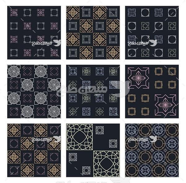مجموعه ابزارهای فتوشاپ پترن طرح مربع
