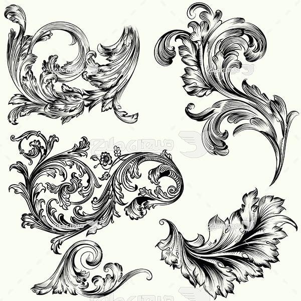 وکتور حاشیه اسلیمی و تذهیب طراحی سیاه و سفید