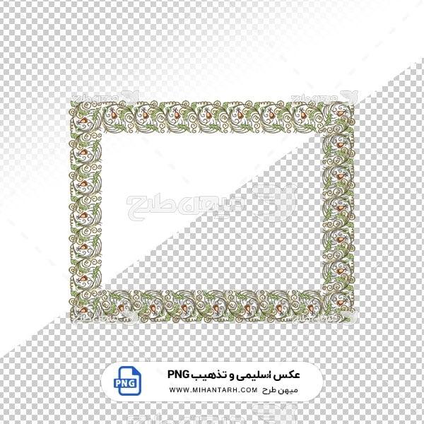 عکس برش خورده اسلیمی و تذهیب حاشیه قاب برگ سبز
