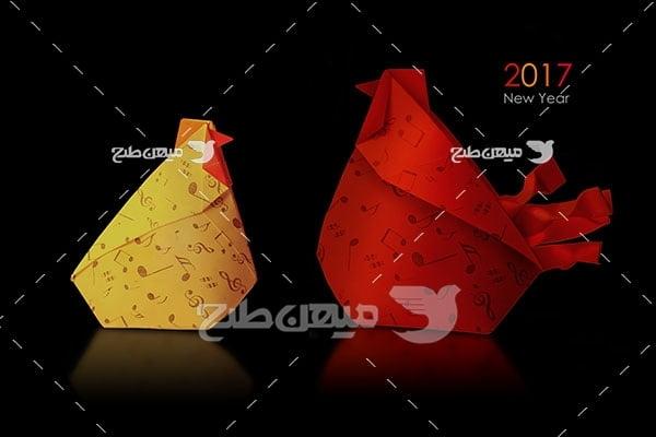 عکس تبلیغاتیاریگامی مرغ و خروس