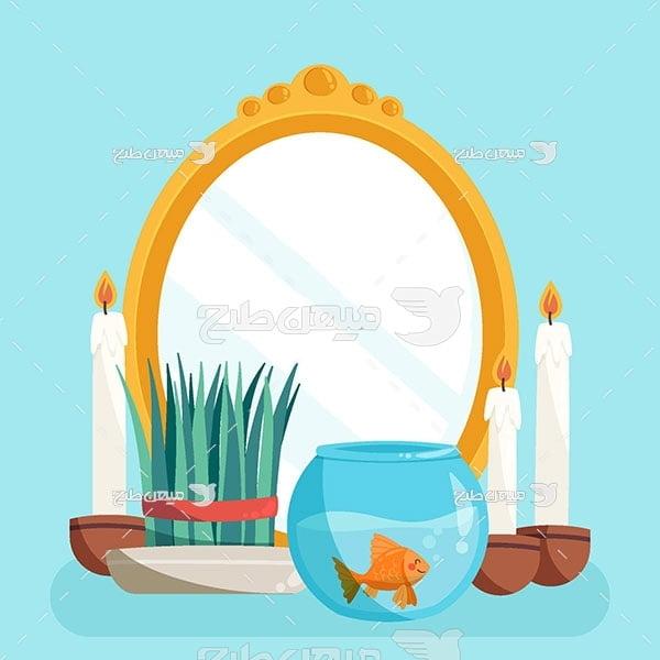وکتور آینه و شمع سفره عید