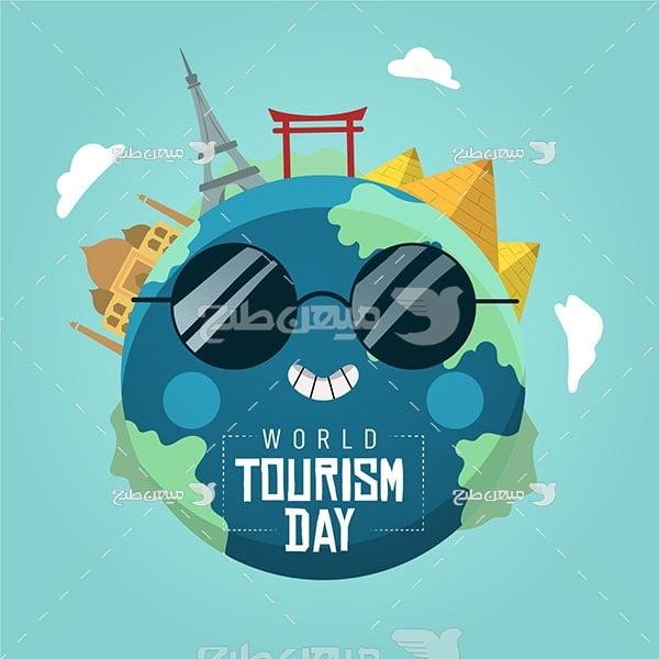 وکتور روز جهانی سفر دور دنیا