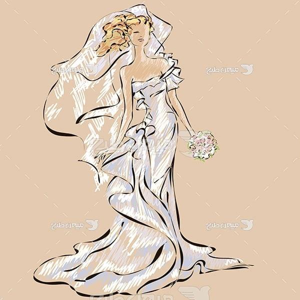 وکتور طرح نقاشی عروس و دسته گل
