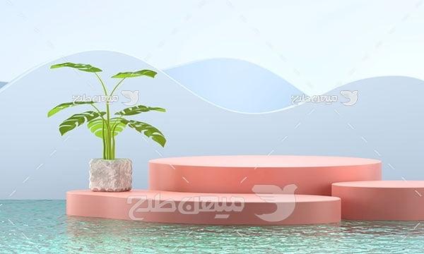 عکس بک گراند مدل مینیمال منظره کوه و دریا