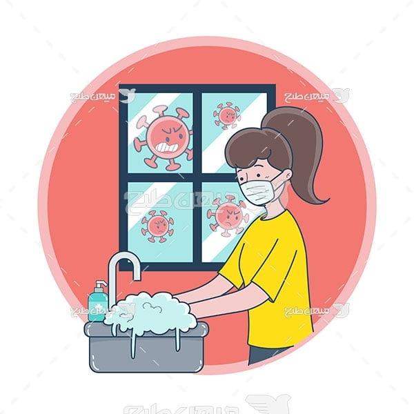 وکتور شستن دست با صابون برای مقابله با کرونا