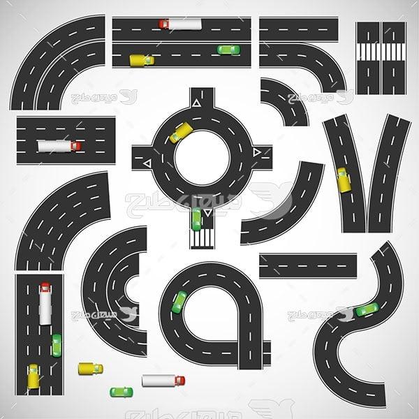 وکتور نمای از بلای جاده و عبور و سایل نقلیه