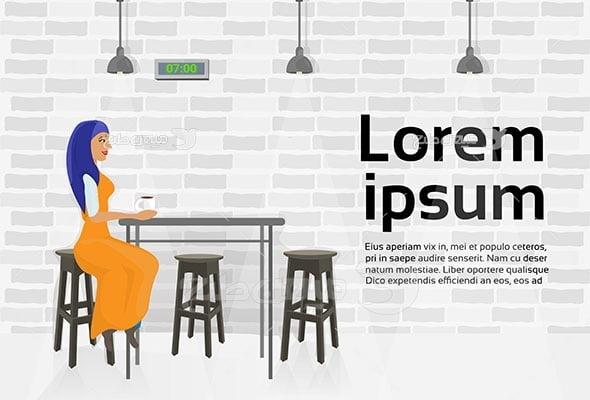 وکتور کاراکتر حجاب در رستوران و کافه