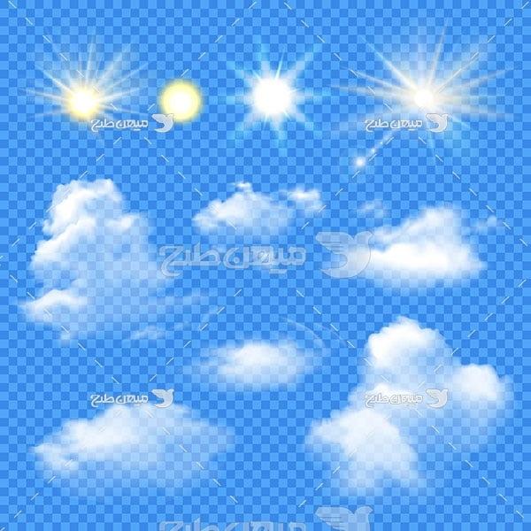 وکتور کاراکتر المان گرافیکی آسمان پر از ابر