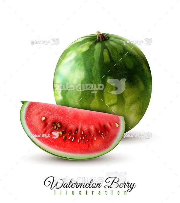 وکتور هندوانه قرمز