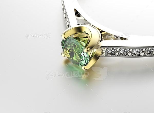 عکس انگشتر نقره با نگین الماس سبز