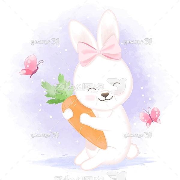 وکتور نقاشی خرگوش هویج