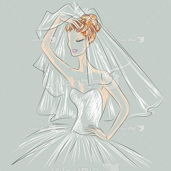 وکتور طرح نقاشی لباس عروس