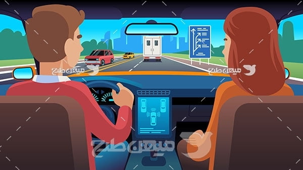 وکتور آموزش رانندگی در شهر