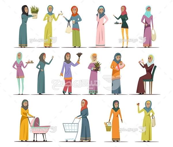 وکتور کاراکتر زن ایرانی