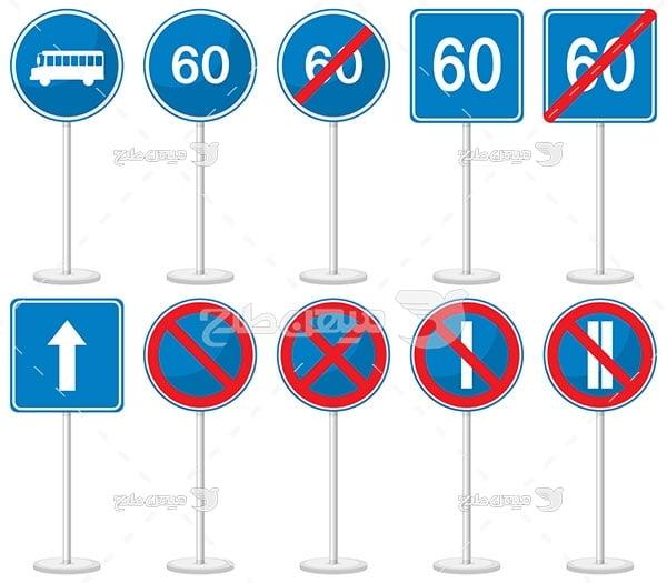 وکتور تابلو علائم راهنمایی و رانندگی