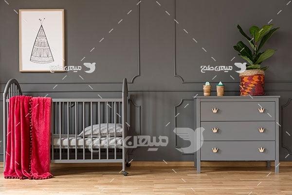 عکس دکور اتاق کودک با دکور خاکستری